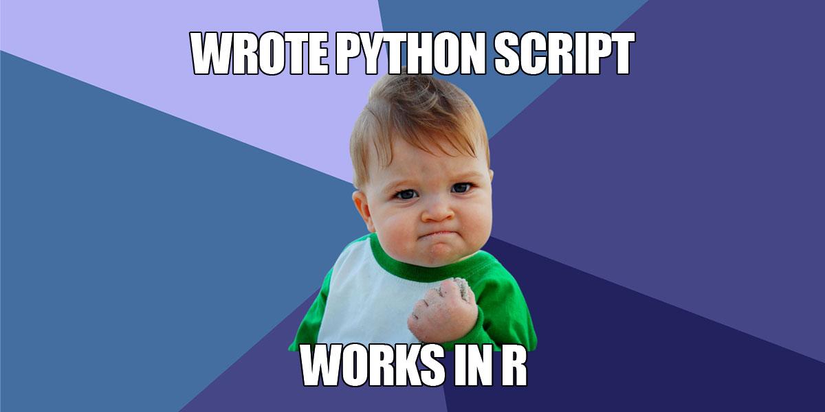 Wrote python script works in R (mème)