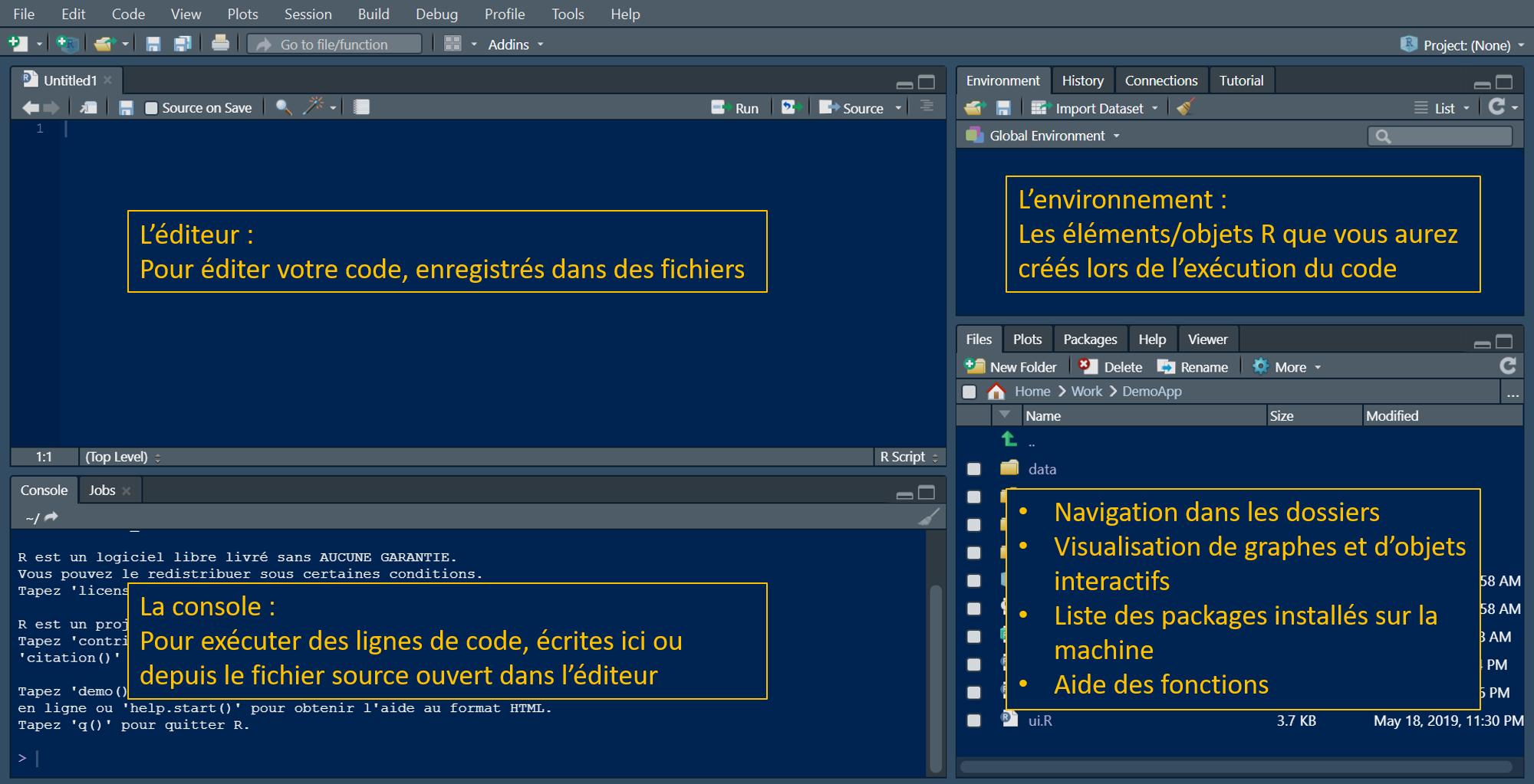 Présentation interface RStudio